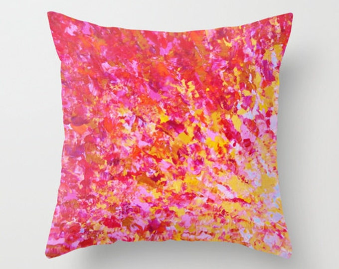 ROMANTIC THROW PILLOW  Decorative 16x16 18x18 20x20 Sweet Romance, Valentines Day Anniversary Sweetheart Pink Red Abstract Acrylic Painting