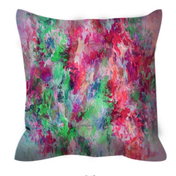 THE NEXUS, Hot Pink and Lime, Greenery Abstract Botanical Art Suede Throw Pillow Cover Colorful Nature Bold Magenta Neon Green Decor Cushion