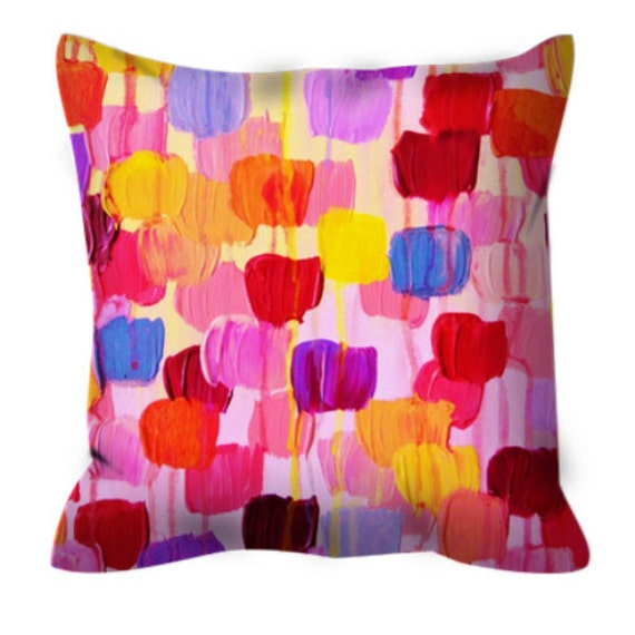 DOTTY IN PINK Decorative Art Suede Throw Pillow Cushion Cover Abstract Pretty Pink Red Yellow Polka Dot Tulips Modern Pattern Decor Painting