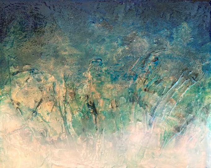 SEA ALGAE, Elegant Ocean Ombre Waves Abstract Water Colorful Contemporary Textured Coastal Beach Blue Green Gold White Acrylic Painting Gift