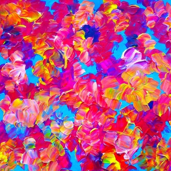 FLORAL FANTASY Fine Art Print Colorful Feminine Abstract Bold Hot Pink Fuchsia Painting Flowers Digital Home Decor Wall Art Dorm Room Style