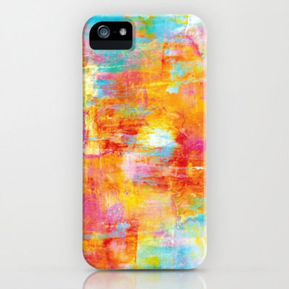 OFF THE GRID Neon Pastel Abstract iPhone 5 Se 6 7 8 X Xr Xs Max Case Samsung Galaxy Cover Colorful Orange Turquoise Rainbow Splash Painting