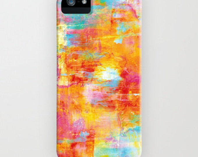 OFF THE GRID Neon Colorful Abstract iPhone 12 Pro Max Case iPhone 11 X Xr Xs Samsung Galaxy S10 S20 S21 Orange Aqua Rainbow Splash Painting