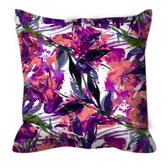 FLORAL FIESTA TROPICAL Punch 2, Purple Peach Abstract Flowers Decorative Suede Throw Pillow Cover 18x18 20x20 26x26 Watercolor Summer Decor