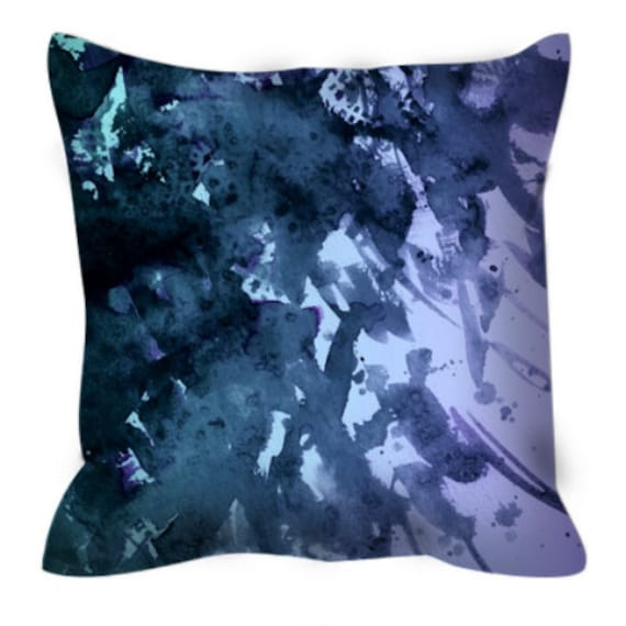 SPLASH OUT 4 Blue Lilac Purple Black Ombre Watercolor Art Suede Throw Pillow Cover 20x20 26x26 Abstract Ocean Waves Peacock Decor Cushion