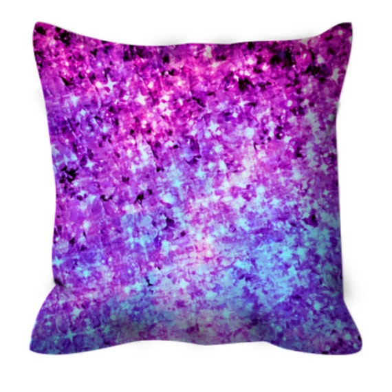 RADIANT ORCHID Art Suede Throw Pillow Cushion Cover Glam Abstract Painting Midnight Royal Blue Plum Lavender Purple Modern Dorm Home Decor