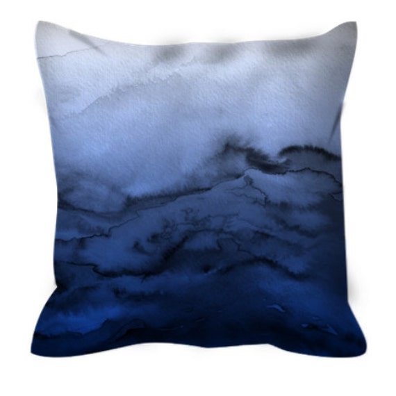 WINTER WAVES 3 Blue Ombre Watercolor Art Suede Throw Pillow Cover 20x20 26x26 Abstract Coastal Ocean Navy Nautical Cool Chic Decor Cushion