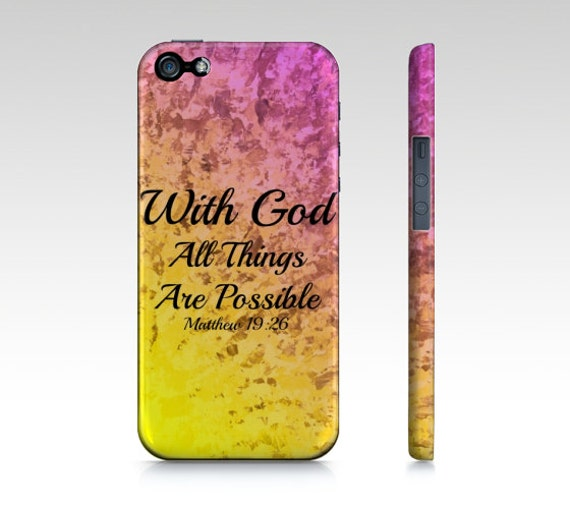 With God All Things are Possible iPhone 5 SE 6 6S 7 8 X Xr Xs Max Case Pink Red Yellow Purple Orange Ombre Abstract Scripture Biblical Verse