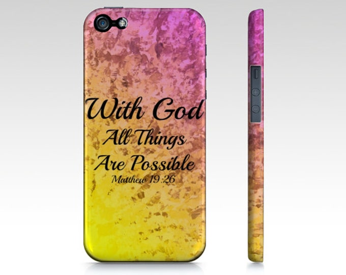 With God All Things are Possible iPhone 8 X Xr Xs Max 11 Pro Max Case Pink Red Yellow Purple Orange Ombre Abstract Scripture Biblical Verse