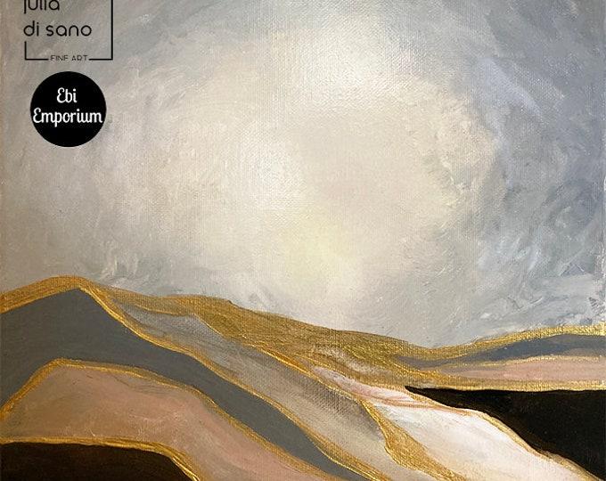 DUNE DRIFTER, Modern Desert Painting Hills Abstract Mountains Painting Landscape Painting 12x12 Small Original Canvas Grey Gold Art Deco