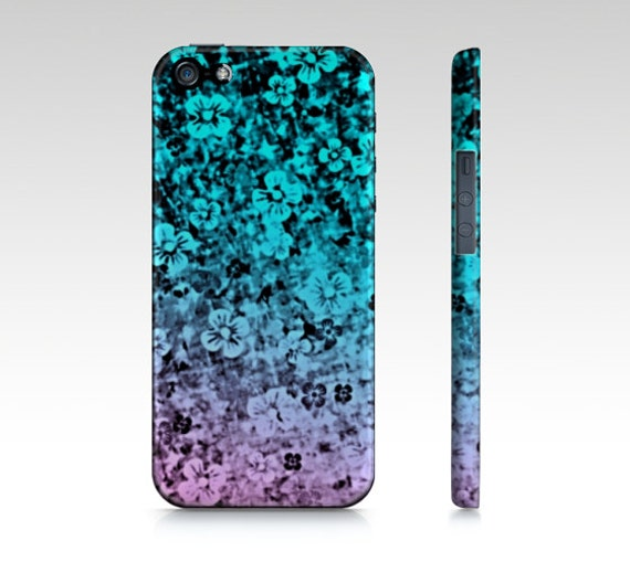 FLOWER POWER in Aqua and Lilac iPhone 5s SE 6 7 8 X Case Samsung Galaxy Case Floral Turquoise Blue Purple Lavender Ombre Abstract Girly Art
