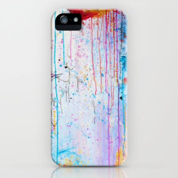 HAPPY TEARS Pastel Art iPhone 5 5c SE 6 6s 7 8 Plus X Case Samsung Galaxy Abstract Painting Design Girly Chic Whimsical Hard Plastic Cover