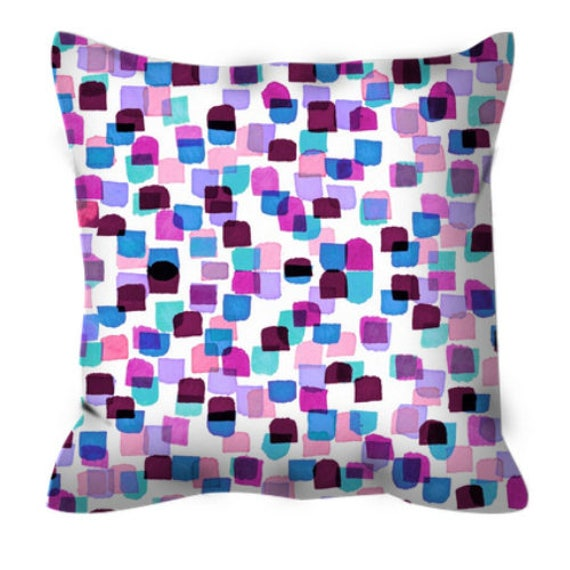 RETRO MOD DOTS 6, Polka Dot Pattern Purple Pink Abstract Art Suede Throw Pillow Cover Watercolor Magenta Lavender Red Colorful Nursery Decor