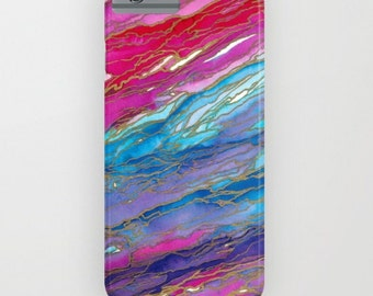AGATE MAGIC Red Aqua Pink Lavender Girly iPhone 12 Pro Max iPhone 11 Case Samsung Galaxy Case Marble Geode Swirl Abstract Watercolor Pattern