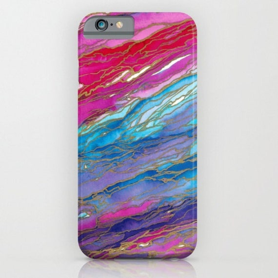 AGATE MAGIC Red Aqua Pink Lavender Girly iPhone 6 7 8 X Xr Xs Max Case Samsung Galaxy Case Marble Geode Swirl Abstract Watercolor Pattern