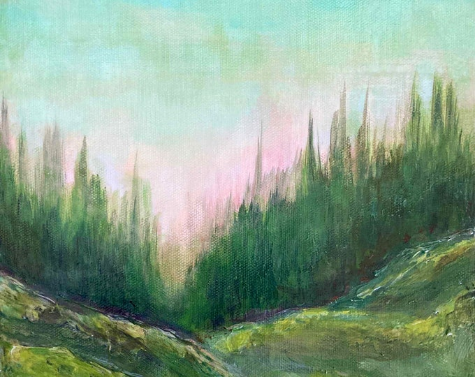 WOODLAND RAMBLES Forest Landscape Aqua Green Trees Lake Nature Lover Modern Abstract Fine Art Decor OOAK Small Painting Affordable Art Gift