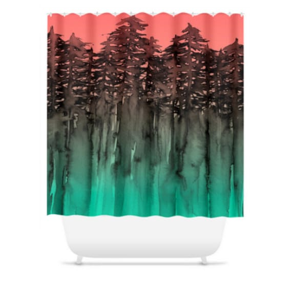 FOREST Through The TREES, Green Coral Peach Black Shower Curtain Washable Colorful Abstract Nature Landscape Outdoors Modern Bathroom Decor