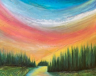 WOODLAND INLET Colorful Nature Abstract Painting 24x24 Original Acrylic on Canvas Rainbow Forest Trees River Sky Contemporary Fine Art Decor