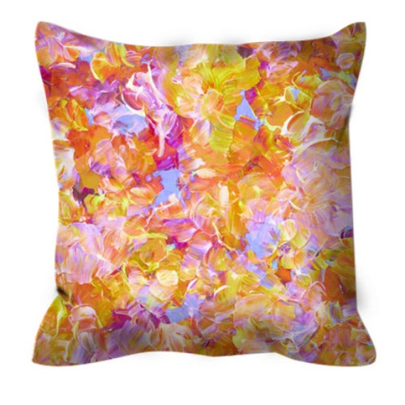 BLOOM ON - YELLOW, Floral Pattern Art Suede Throw Pillow Cover Abstract Flowers Colorful Peach Pastel Pink Sunshine Orange Girly Home Decor