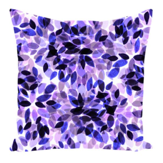 DAHLIA DOTS, VIOLET Lavender Purple Art Suede Throw Pillow Cushion Cover 18x18 20x20 26x26 Abstract Floral Pattern Modern Decor Painting