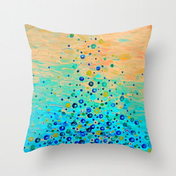 WHAT GOES UP Beautiful Water Bubbles Pattern Pillow Art Peach Turquoise Aqua Blue 16x16 18x18 20x20 Throw Cushion Ocean Abstract Painting
