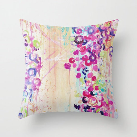 SAKURA Cherry Blossom Art Throw Pillow 16x16 18x18 20x20 Beautiful Whimsical Bubbles Feminine Floral Abstract Art Painting Decor Cushion