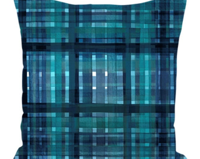 PLAID FOR YOU, Teal Blue Art Suede Throw Pillow Cushion Cover 18x18 20x20 26x26 Abstract Tartain Stripes Check Chic Modern Decor Painting