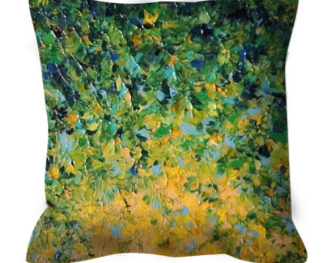 IRISH SUNRISE  Green Ombre Art Suede Throw Pillow Cushion Cover Colorful Abstract Lucky Yellow Lime Emerald Nature Modern Home Decor Cushion