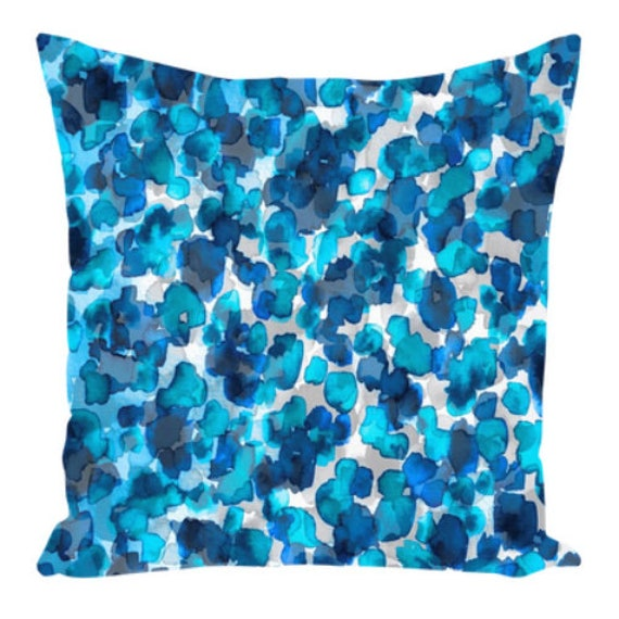 WILD THING, BLUE Turquoise Indigo Art Suede Throw Pillow Cushion Cover 18x18 20x20 26x26 Abstract Polka Dot Pattern Modern Decor Painting