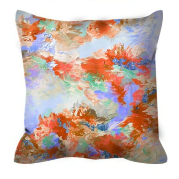WE WERE MERMAIDS 2 Decorative Abstract Art Suede Throw Pillow Cover 18x18 26x26 Pastel Rust Orange Periwinkle Blue Lavender Ocean Sea Decor