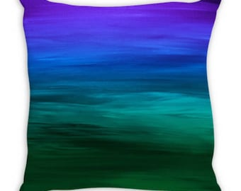 COASTAL SUNSET 2, Blue Green Ombre Suede Throw Pillow Cushion Cover 18x18 20x20 26x26 Colorful Abstract Art Indigo Emerald Ocean Home Decor