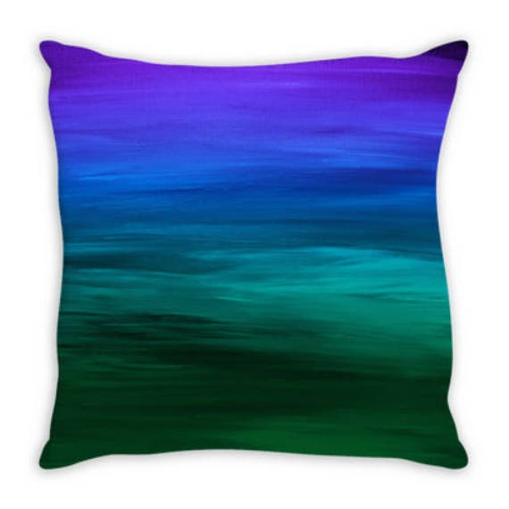 COASTAL SUNSET 2, Blue Green Ombre Suede Throw Pillow Cushion Cover 18x18 20x20 26x26 Colorful Abstract Art Indigo Emerald Ocean Home Decor