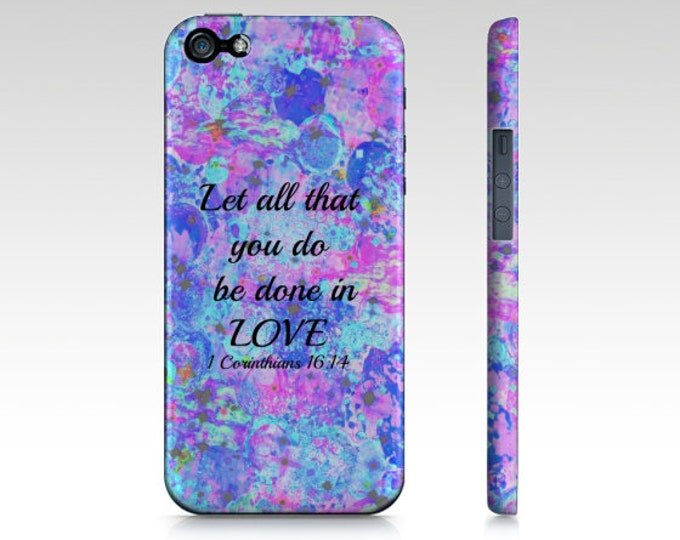 All That You Do iPhone 12 Pro Max 8 X Xr Xs 11 Case Bible Proverbs Corinthians Christian Love Pink Blue Abstract Scripture Biblical Verse