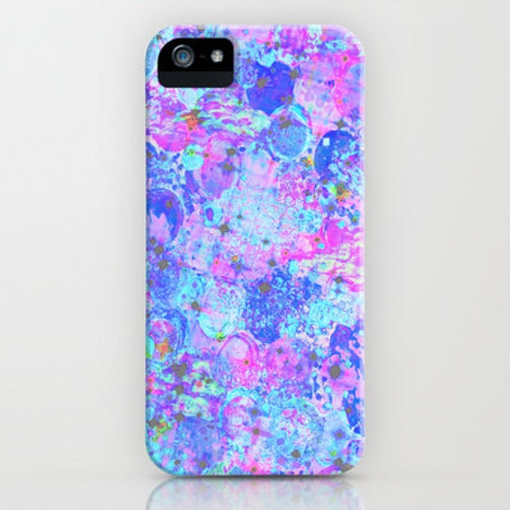 TIME For BUBBLY Again iPhone 6 7 8 X Xr Xs Max 11 Case Samung Galaxy Hard Cover, Girly Pastel Turquoise Blue Pink Purple Abstract Painting