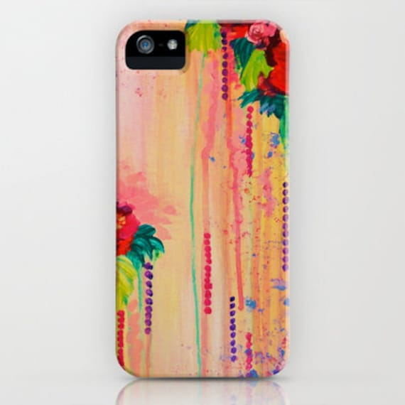 STRAWBERRY CONFETTI Floral iPhone 5 SE 6 7 8 Plus X 11 Case Samsung Galaxy Roses Pretty Pink Peach Flowers Girly Abstract Bouquet Painting