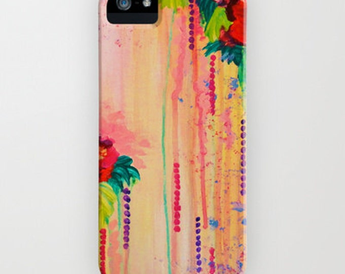 STRAWBERRY CONFETTI Floral Roses iPhone 11 12 Pro Case Samsung Galaxy S10 S20 S21 Samsung Note Pretty Pink Peach Flowers Girly Abstract Art