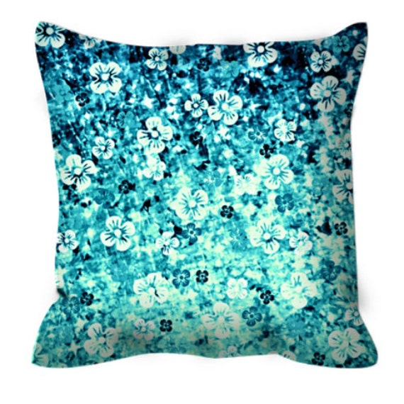 FLOWER POWER Blue Floral Ombre Art Suede Throw Pillow Cushion Cover 18x18 20x20 Abstract Teal Turquoise Flowers Modern Home Decor Painting