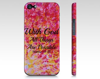 With God All Things are Possible iPhone 12 Pro Max Case iPhone 11 8 X Xr Xs Red Yellow Purple Orange Ombre Abstract Scripture Biblical Verse