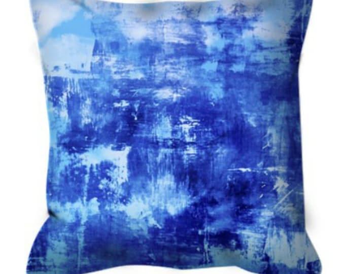 OFF THE GRID 7 Cobalt Royal Blue Suede Throw Pillow Cover 18x18 20x20 26x26 Abstract Art Coastal Ocean Nautical Cool Sea Beach Decor Cushion