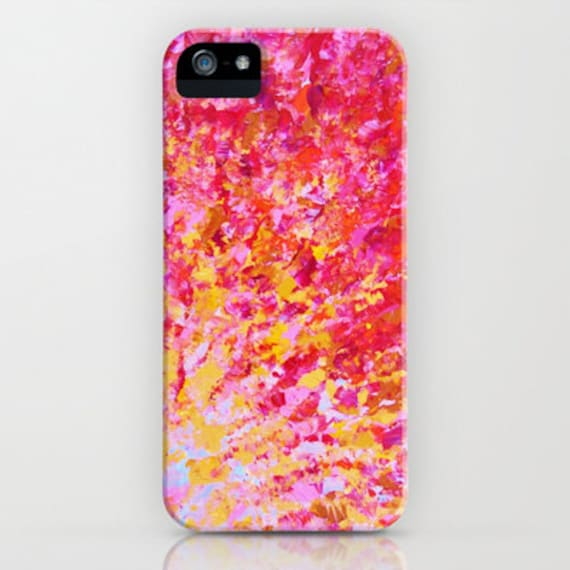 ROMANTIC DAYS Girly Pink Red Ombre iPhone 5 SE 6 7 8 X Xr Xs Max Case Samsung Galaxy Case Phone Cover Bold Colorful Abstract Art Painting