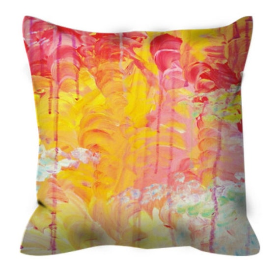 SUN SHOWERS Orange Pink Art Suede Throw Throw Pillow Cover 18x18 20x20 Abstract Sky Rainy Day Sunshine Modern Decor Acrylic Painting Cushion