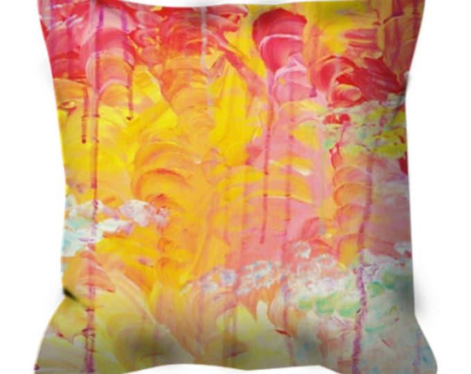 SUN SHOWERS Orange Pink Art Suede Throw Throw Pillow Cover 18x18 20x20 Abstract Sky Rainy Day Sunshine Modern Decor Acrylic Painting Cushion
