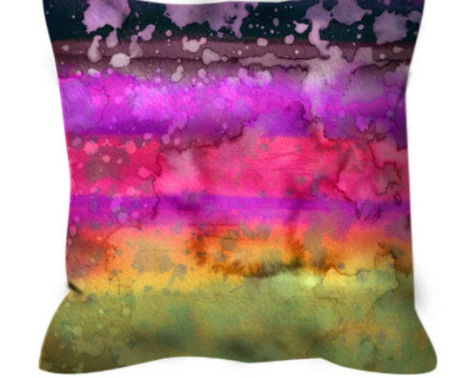 CALIFORNIA SURF 7 Rainbow Stripes Ombre Pattern Art Suede Throw Pillow Cover Cushion Magenta Plum Lime Abstract Colorful Waves Summer Decor