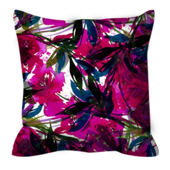 FLORAL FIESTA, MAGENTA Hot Pink Blue Watercolor Flowers Art Suede Throw Pillow Cushion Cover 18x18 20x20 26x26 Summer Garden Colorful Decor
