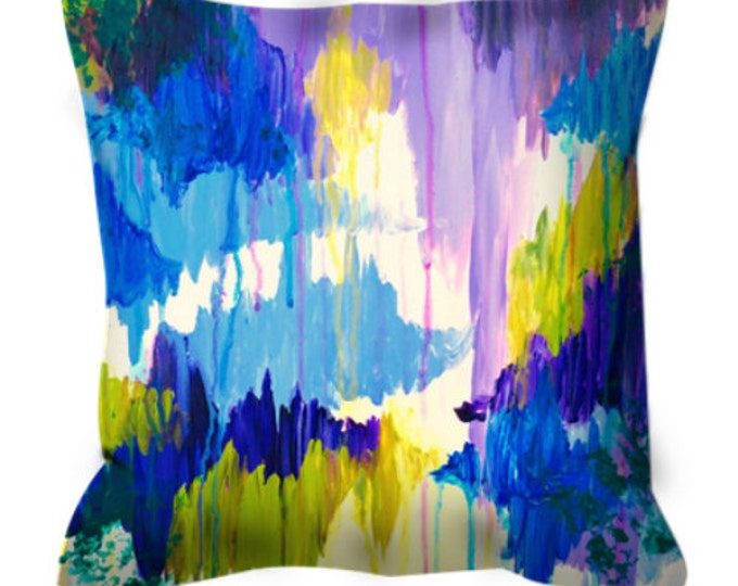 WINTER DREAMING - Fine Art Suede Decorative Throw Pillow Cushion Cover Abstract Royal Blue Purple Lime Green Modern Dorm Home Decor Painting