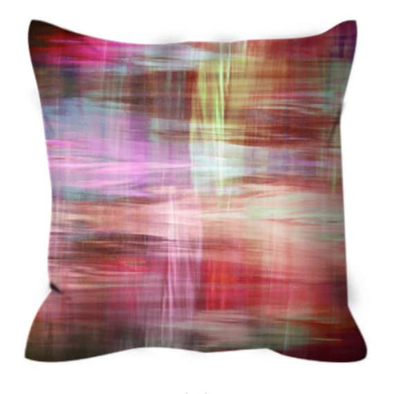 BLURRY VISION 2, Red Pink Yellow White Tartan Plaid Art Suede Throw Pillow Cover 20x20 26x26 Watercolor Abstract Xmas Winter Decor Cushion