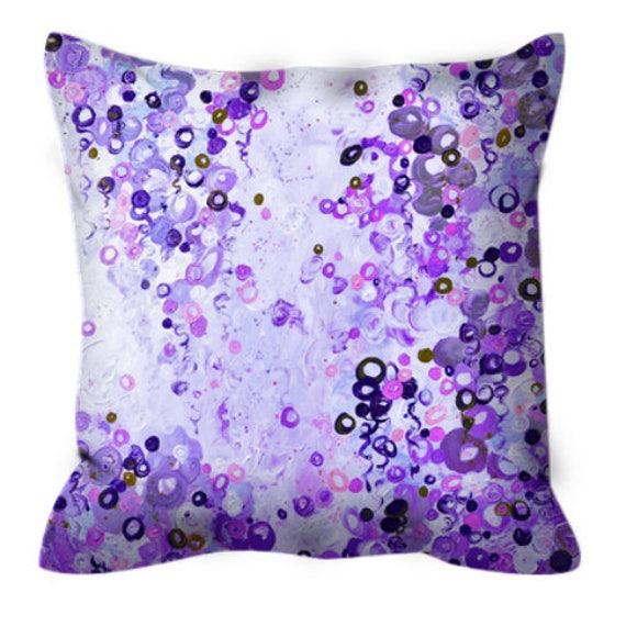 DAYDREAM, PURPLE Polka Dot Abstract Pattern Art Suede Throw Pillow Cover Bubbles Pastel Lavender Violet Aubergine Colorful Nursery Decor