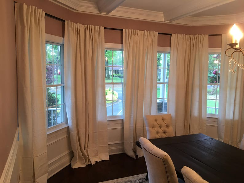 Iron Rod Custom Made Bay Window Rod Wrought Iron Bay Drapery Curtain Rod Custom Window Treatment Bay Rod Iron Drapery Rod Oil Bronze