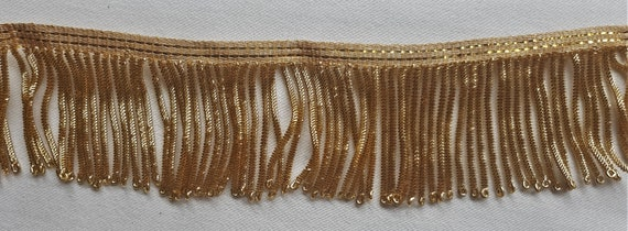 "Vintage Gold Metallic Bullion Fringe Coiled Strands 1 1//4/"" Wide French"