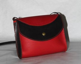 100 % handmade, handstitched red and dark brown leather women sling bag, messanger bag by GENATI